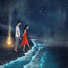 Der magisch schimmernde Strand der maledivischen Insel Vadhoo – … – Maya Mukhopadhaya – Join in the world Love Cartoon Couple, Cute Love Cartoons, Anime Love Couple, Images Of Love Couple, Cartoon Love Quotes, Cute Love Images, Movie Quotes, Beautiful Pictures, Cute Couple Drawings