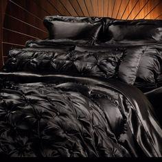 black silk bed sheets