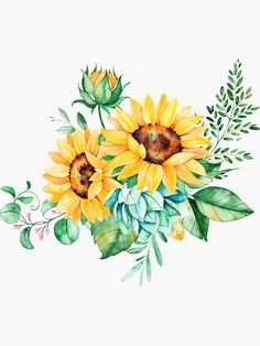 Sunflower bouquet sunflower bunch sunflowers watercolor painted sunflowers Sticker by SouthPrints Redbubble # Sunflower Drawing, Sunflower Art, Sunflower Paintings, Sunflower Clipart, Watercolor Flowers, Watercolor Paintings, Watercolor Sunflower Tattoo, Drawing Flowers, Body Painting