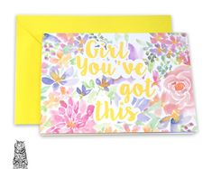 Surface Pattern Designs by TasherellaKitty on Etsy Motivational Card - Positive Vibes - Quote - Floral