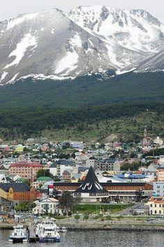 The edge of the harbor and the town of Ushuaia, Tierra del Fuego, Argentina. Dream destinations, Surreal Places To Visit Places Around The World, The Places Youll Go, Travel Around The World, Places To See, Around The Worlds, Ushuaia, Bolivia Travel, Argentina Travel, Wonderful Places
