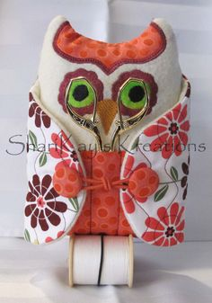 Sew Owl Pincushion in Burgundy & Pink Flower by ShariKaysKreations, $29.95