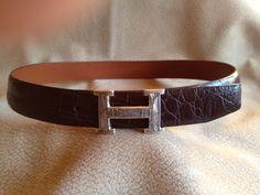 Hermes buckle on chocolate crocodile belt.