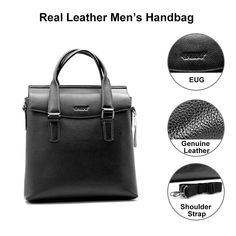 631400757b21 eBay  Sponsored Black Cowhide Men s Leather Bag Messenger Strap Shoulder Bag  For Boyfriend Gift
