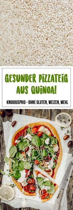 The ultimate, crispy pizza quinoa! [+ Rezept für Spinat-Pizza mit Cashew-Cream & geschmorten Tomaten] - gluten, flour & wheat - Healthy pizza crust made from quinoa! Definitely imitate – so delicious and super crispy :-] - Crispy Pizza, Crispy Quinoa, Healthy Pizza Recipes, Vegetarian Recipes, Paleo Pizza, Quinoa Vegan, Stewed Tomatoes, Cashew Cream, Healthy Recipes