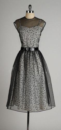 vintage 1940s dress . black polka dot 2 piece by millstreetvintage