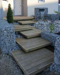 Like the stairs but could use more plants. 23 Attractive and Practical Gabion Ideas To Enhance Outdoor Space Landscape Architecture, Landscape Design, Garden Design, Path Design, Landscape Stairs, Design Ideas, Design Design, Gabion Wall, Gabion Retaining Wall