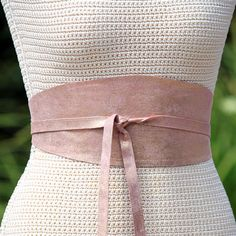 Reversible Leather obi sash corset wrap belt - Pink with gold lamb leather - wide cinch belt - choose fabric print. $45.00, via Etsy.