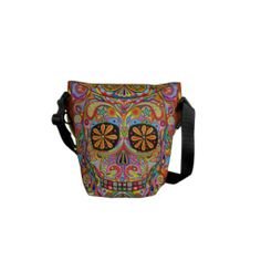 Colorful Sugar Skull Inspired Mini Messenger Bag For Bobbies! Mini Messenger Bag, Pack Your Bags, Beautiful Bags, Hippie Boho, Purses And Bags, Fashion Accessories, Satchel, Handbags, Shoe Bag