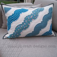 Drunkards Path Cushion in turquoise and aqua colours by Stacey's Craft Designs