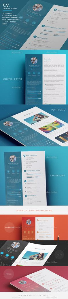 Buy Creative Resume - CV by micromove on GraphicRiver. One of the best and stylish resume template design. Creative Resume is Modern, clean, professional, Template for CV. Best Resume Template, Resume Design Template, Creative Resume Templates, Cv Template, Simple Cv, Simple Resume, Professional Resume, Portfolio Professional, Professional Profile