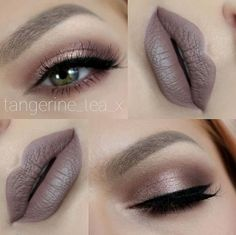 monochromatic Pinky Sepia #eye #makeup @tangerine_tea_x with trendy #grey #lips (MAC Stone dupe)