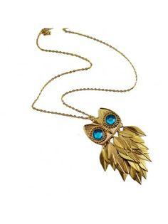 Vintage Blue Rhinestone Eyes Owl Leaves Sweater Necklace