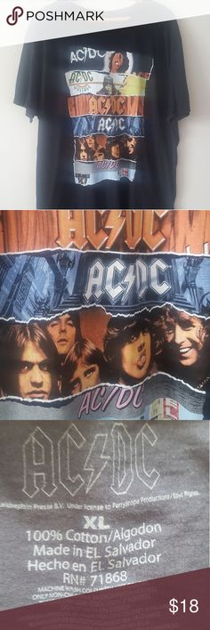 NWOT OFFICIAL LICENSED AC/DC BAND T-SHIRT NWOT Official licensed product for the band AC/DC X-Large black short sleeve shirt with front screen print of band montage Full black back 100% cotton/Imported Approximately 8 inch sleeve Approximately 31 inches in length AC/DC Shirts Tees - Short Sleeve
