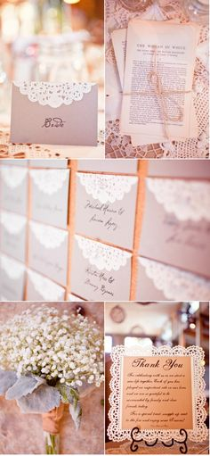 love the faux lace escort cards