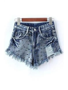 SHARE & Get it FREE | Rivet Embellished Frayed Denim ShortsFor Fashion Lovers only:80,000+ Items • New Arrivals Daily Join Zaful: Get YOUR $50 NOW!