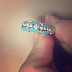 Blue enamel right with rhinestones.  Blue enamel ring with rhinestones in silver setting. There are two stones missing (barely noticeable). Jewelry Rings
