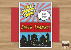 SUPER HERO COMICBOOK Style Thank You Card - Digital Printable. $5.00, via Etsy.