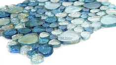 Glass Pebble Mosaic Tile | Iridescent Pebble Glass Mosaic, 3 colors ON SALE | tiledaily
