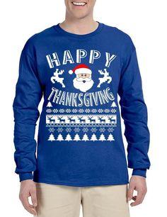 Men's Long Sleeve Happy Thanksgiving Ugly Santa Holiday Gift