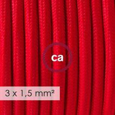 Cavo elettrico a larga sezione 3x1,50 rotondo - tessuto effetto seta Rosso RM09