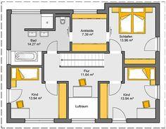 Fertighaus Trento Grundriss EG Cottage Plan, Modern House Plans, Architecture Plan, Bungalow, Home Furniture, Sweet Home, Floor Plans, Home And Garden, Backyard