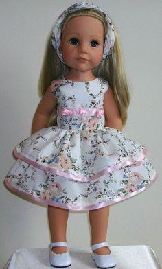 "Ribbons & roses dress & alice band fits 18-20"" Dolls Designafriend/Gotz hannah"