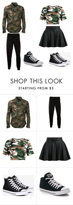 """""""couples camo outfit"""" by pipsqueekpop ❤ liked on Polyvore featuring Valentino, McQ by Alexander McQueen and Converse"""