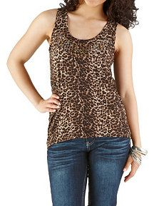 Animal Print Studded Tank with Lace Back