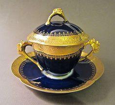 W. GUERIN LIMOGES Porcelain Cobalt Blue Gold Gilt Covered TREMBLEUSE Cup Saucer