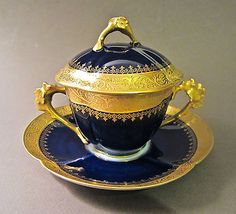 W. GUERIN LIMOGES Porcelain Cobalt Blue Gold Gilt Covered TREMBLEUSE Cup Saucer