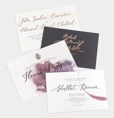 Custom Invitation Suite / Rose Gold Foil / Charcoal Letterpress / Blind Deboss / Watercolor / Faux Leather Wrap / Anne Robin Calligraphy / Bliss & Bone