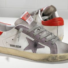 Golden Goose Sneakers Super Star Donna in Pelle White Red Violet Star