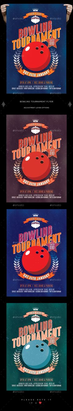 Bowling Tournament Flyer  — PSD Template #game #bowling nights • Download ➝ https://graphicriver.net/item/bowling-tournament-flyer/18096819?ref=pxcr