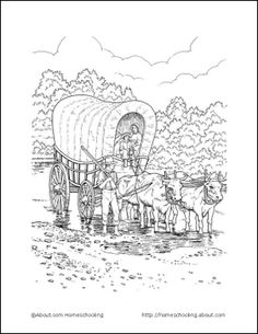 Pioneer Life Wordsearch, Crossword Puzzle, and More: Pioneer Life Coloring Page - Covered Wagon Lds Coloring Pages, Coloring Sheets, Coloring Books, Printable Coloring, Pioneer Trek, Pioneer Life, Activity Sheets, Activity Days, Pioneer Day Activities