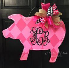SHIPS NOW Pink Pig Wooden Door Hanger Door by DesignsAshleyNichole