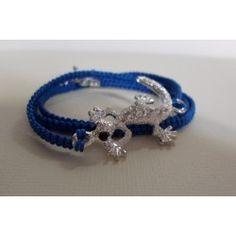 """Bracelet/ collier connecteur """"Salamandre"""" macramé"""