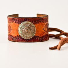 Tooled Leather Jewelry Cuff Bracelet