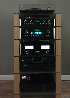 Six Shelf Oak HiFi Stand with McIntosh Audio separates Hifi Stand, Audio Stand, Equipment For Sale, Audio Equipment, Kenwood Audio, Room Acoustics, Audio Rack, At Home Movie Theater, High End Audio