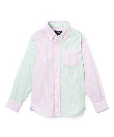 Mint & Pink Seersucker Button-Up - Toddler & Boys