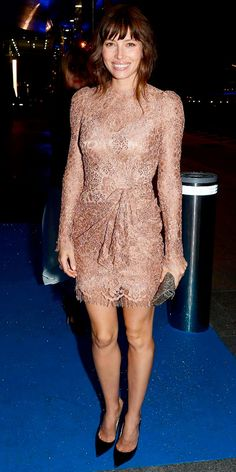 Biel hit the Total Recall after-party in a lace Dolce & Gabbana design. A gray clutch and pointy-toe pumps completed the look.
