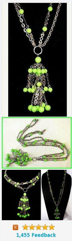 "Green Tassel SAUTOIR Necklace Pendant Glass Beads Silver Chains Boho 22"" Vintage https://www.etsy.com/BrightgemsTreasures/listing/561376928/green-tassel-sautoir-necklace-pendant?ref=shop_home_active_8"