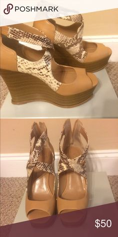 NEW IN BOX JESSICA SIMPSON WEDGES New in box. Worn once. Great shoes for the summer, easy to walk in. Jessica Simpson Shoes Wedges