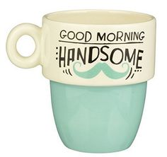 """"""" His & Hers Stacked Mugs - Set Of 2 By Grassland Roads - The Gadget Experience Perfect Cup, Gadgets And Gizmos, Mugs Set, Yummy Drinks, Roads, Good Morning, Kitchen Decor, Unique Gifts, Coffee"""