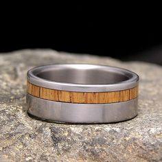 Used Jack Daniel Distillery Whiskey Barrel Wood Titanium Offset Inlay Wedding Band Or Ring