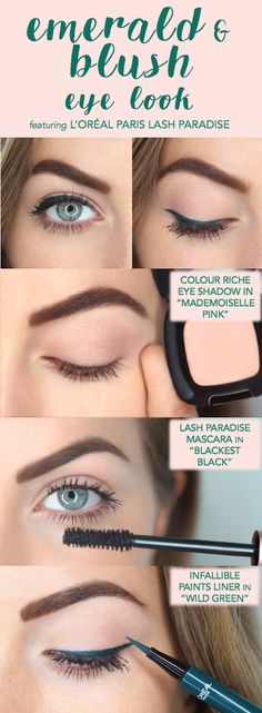 Emerald green and blush pink eye look featuring L'Oreal Lash Paradise mascara. First apply Colour Riche shadow over lid, then apply a wing with Infallible Paints liner in Wild Green. Finish with 2 coats of Lash Paradise on top and bottom lashes!