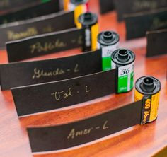 Film Escort Cards: Are you a photography addict? These cards made from rolls of film are a great way to work your passion into your wedding. (via Style Me Pretty)