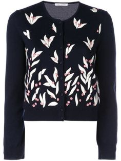 Shop online blue Oscar de la Renta floral embroidered cardigan as well as new season, new arrivals daily. Jessica Day, New Girl, World Of Fashion, Size Clothing, Floral, Women Wear, Crew Neck, Clothes For Women, Fashion Design