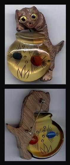 Vintage 1930 039 S Wood CAT AMP Reverse Carved Bakelite Fishbowl PIN | eBay