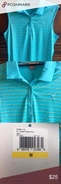 NEW Women's Puma Sleeveless Golf Shirt ~NEW WITH TAGS~  Size Medium  Style #: 562691  100% Polyester Interlock, Circular Knitted, Moisture Wicking (inherent in yarn), UPF 40+ . Highlighted with sleeveless, dotted details Made in America Puma Tops